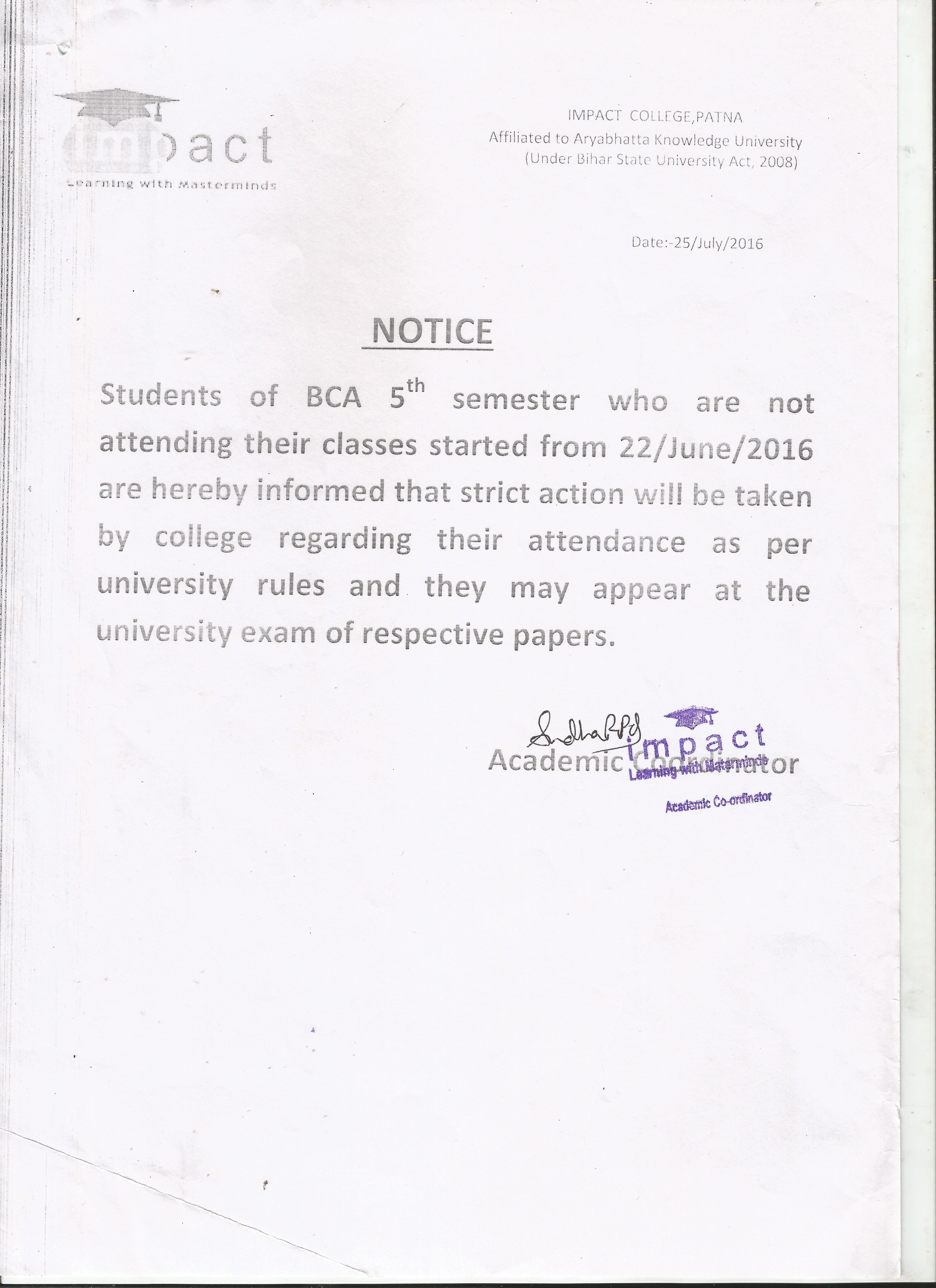 Academic Notice - Impact College